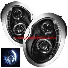 ไฟหน้ารถยนต์ MINI COOPER 02-06 ดำ วงแหวน LED ยาว