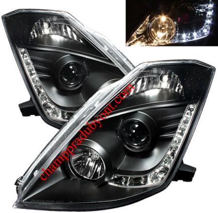 ไฟหน้ารถยนต์ NISSAN 350Z 03-08 ดำ LED ยาว