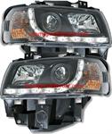 ไฟหน้ารถยนต์ VOLKSWAGEN CARAVELLE T4 97-04 ดำ มุมติด LED ยาว