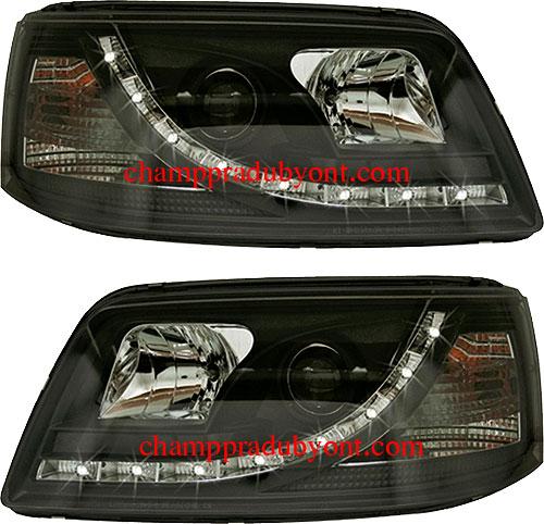 ไฟหน้ารถยนต์ VOLKSWAGEN CARAVELLE T5 04-09 ดำ LED ยาว