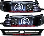 ไฟหน้ารถยนต์ TOYOTA AE100-AE101 91-96 ดำ วงแหวน พร้อมมุมดำ และกระจังหน้า
