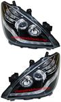 ไฟหน้ารถยนต์  TOYOTA AVANZA 04-11 ดำ วงแหวน LED ยาว