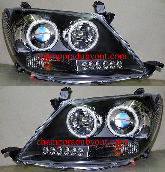 ไฟหน้ารถยนต์  TOYOTA FORTUNER 05-08 ดำ วงแหวน LED ยาว