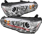 ไฟหน้ารถยนต์  MITSUBISHI LANCER EX 09-12 ขาว วงแหวน LED ยาว