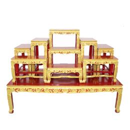 โต๊ะหมู่บูชา โต๊ะหมู่ไม้สัก 9x9''  พ่นทองขาสิงห์