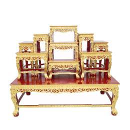 โต๊ะหมู่บูชา โต๊ะหมู่ไม้สัก 9x8''  ปิดทองแท้ 100 %