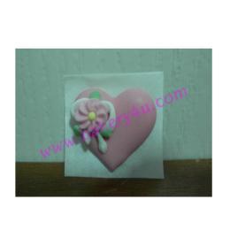 ไอซิ่งหัวใจลายดอกไม้(ใหญ่)สีชมพู