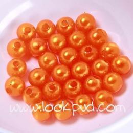 ลูกปัดพลาสติก สีส้ม 8 มิล 1 ขีด