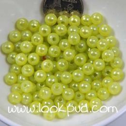 ลูกปัดพลาสติก สีเขียวมะนาว 4 มิล 1 ขีด