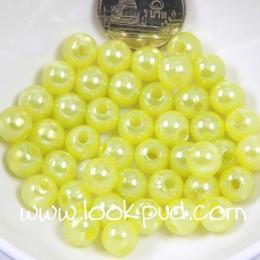 ลูกปัดพลาสติก สีเขียวมะนาว 6 มิล 1 ขีด
