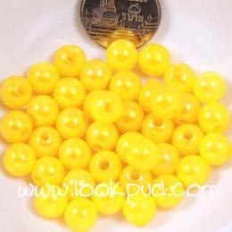 ลูกปัดพลาสติก สีเหลืองสด 6 มิล 1 ขีด