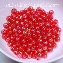ลูกปัดพลาสติก สีแดงรุ้ง 4 มิล 1 ขีด