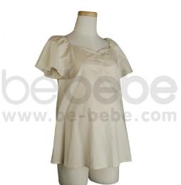 เสื้อนอนคลุมท้อง ไหล่สโล๊บ ผ้า Cotton 100% สีเบจ