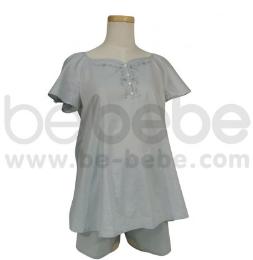 เสื้อนอนคลุมท้อง ไหล่สโล๊บ ผ้า Cotton 100% สีเทา