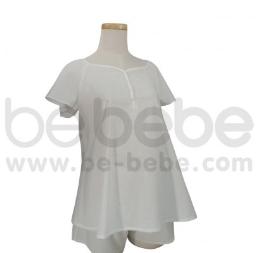 เสื้อนอนคลุมท้อง ไหล่สโล๊บ ผ้า Cotton 100% สีขาว