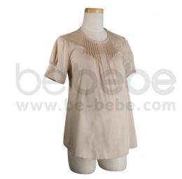 เสื้อยืดคลุมท้อง คอกลม ผ้า Organic Cotton สีเบจ