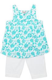 เสื้อแขนกุดลายดอกฟ้ากางเกงขายาวขาว