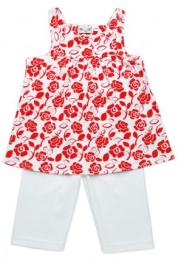เสื้อแขนกุดลายดอกแดงกางเกงขายาวขาว