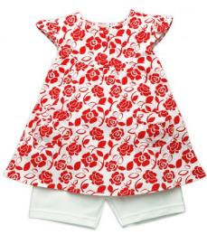 ชุดกระโปรงลายดอกแดงกางเกงขาสั้นขาว