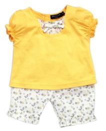 เสื้อเหลืองแขนจั๊มกางเกง 3 ส่วนลายดอก