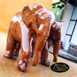 ช้างไม้สักคู่แกะสลัก