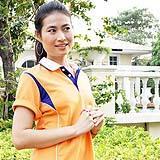 เสื้อยืด คอโปโล สีส้ม สาบสีน้ำเงิน B014