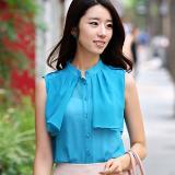 เสื้อแฟชั่นเกาหลี เสื้อชีฟอง แขนกุด ระบายหน้าอก