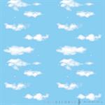 วอลเปเปอร์สติ๊กเกอร์ ลายท้องฟ้ากับเมฆ และจรวดกระดาษ EWP-018