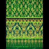 ผ้าพิมพ์ทองลายหัวใจ สีเขียว