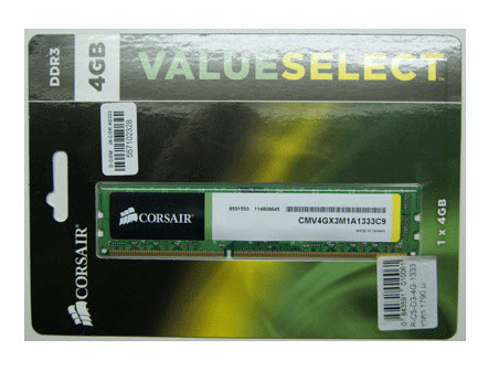 แรมคอมพิวเตอร์ Corsair RAM DDR3- 4GB- 1333MHz