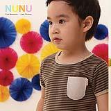 เสื้อผ้าเด็ก NuNu-Tee (Olive/ Grey Felt Pocket)