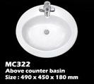 อ่างบนเคาน์เตอร์ในห้องน้ำ (MC322)
