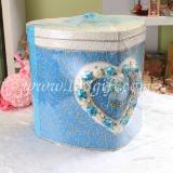 กล่องใส่ซองทรงตรงหัวใจสีฟ้า