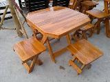 โต๊ะชุดรับแขกไม้สัก เก้าอี้พับได้