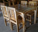 โต๊ะชุดอาหารไม้สัก ขากลึง (สีธรรมชาติ)