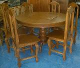 โต๊ะชุดอาหารไม้สัก กลม แป้นกลางหมุนได้