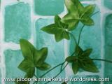 เสื่อน้ำมัน ลายใบไม้สีเขียว