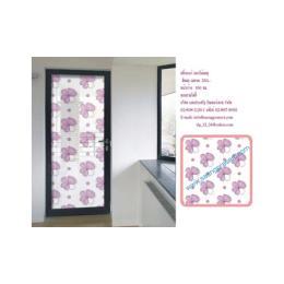 สติ๊กเกอร์ติดกระจก ลายดอกไม้ใหญ่(สีชมพู)