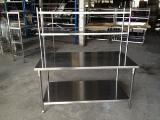 โต๊ะเตรียม 2 ชั้น + ชั้นลอย-สแตนเลส