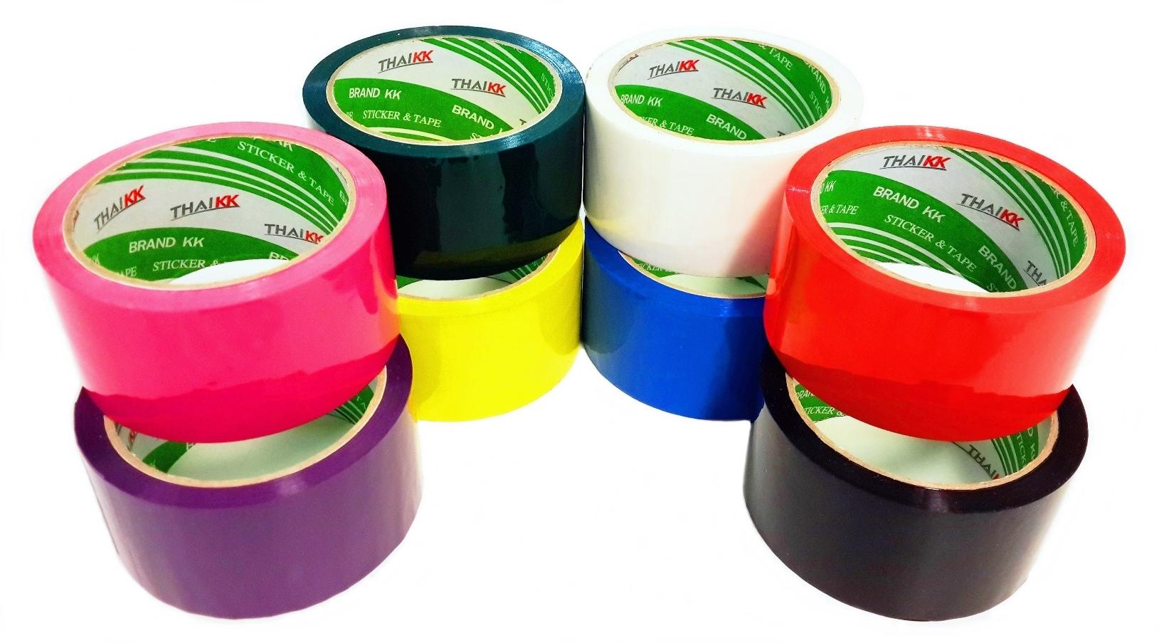 THAI KK เทปกาว เทปโอพีพีสี มีทั้งหมด 7 สี (เหลือง, แดง, น้ำเงิน, เขียว, ม่วง, ดำ, ขาว)