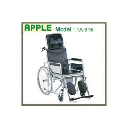 รถเข็นผู้ป่วยแบบเหล็กชุบโครเมี่ยม Model - TA-916 (นั่งถ่ายและปรับนอนได้)