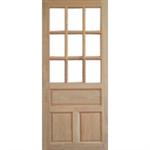ประตูทึบลูกฟักล่างกระจกบน ไม้สยาแดง 80 x 200