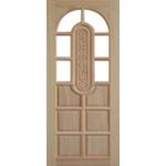 ประตูทึบลูกฟักล่างกระจกบนโค้ง ไม้สยาแดง 80 x 200