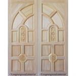 ประตูทึบแกะสลัก ประตูไม้สยาแดงบานคู่ 80 x 200