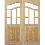 ประตูทึบแกะสลัก ไม้สยาแดงบานคู่ 80 x 200