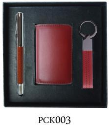 กิ๊ฟเซ็ท  ปากกาโลหะ - ตลับนามบัตรหนัง - พวงกุญแจPCK003