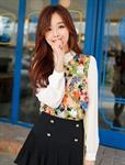 เสื้อแฟชั่นเกาหลี คอปกสีขาว เสื้อแขนยาว ผ้าชีฟองพิมพ์ลายดอกไม้ น่ารักสดใส